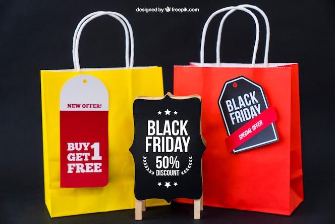 Mockup de black friday con dos bolsas