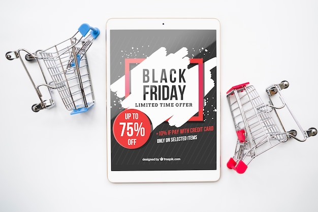 Mockup de black friday con tableta