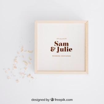 Mockup de caja de madera para boda