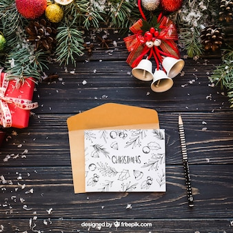 Mockup de carta elegante con diseño de navidad