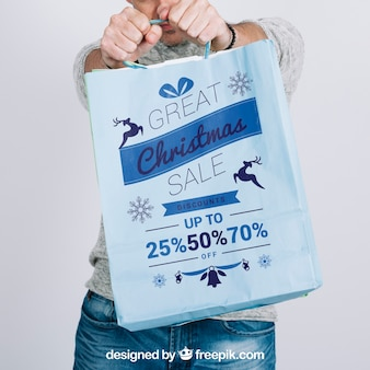 Mockup de cerca de bolsa de compras
