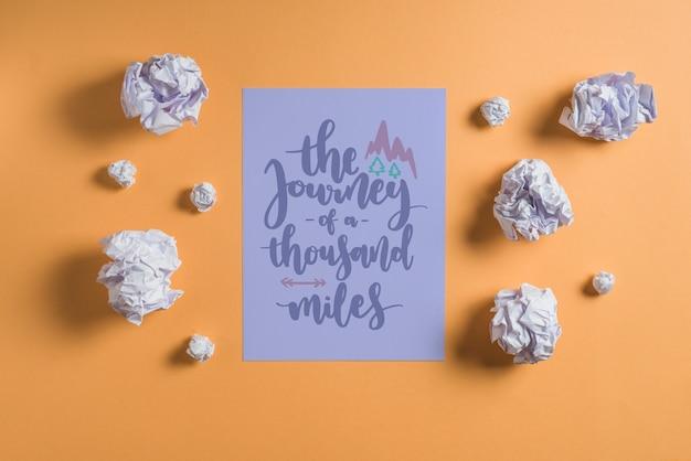 Mockup de cita o lettering en papel