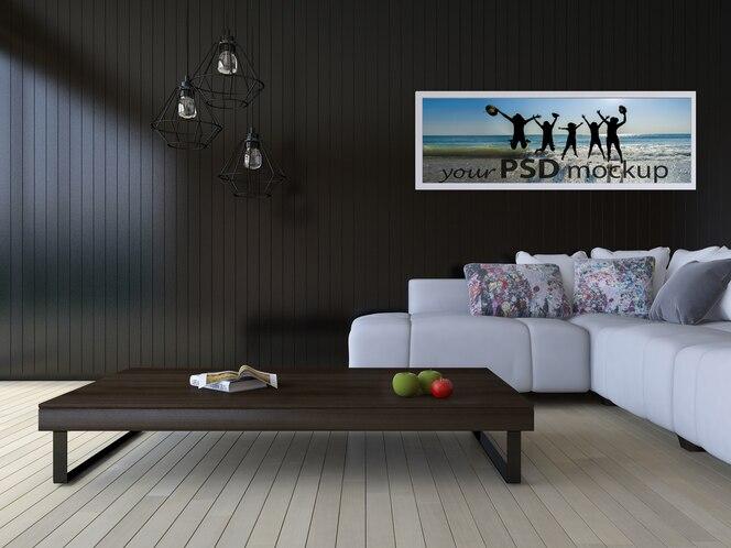 Mockup de diseño interior con salón moderno
