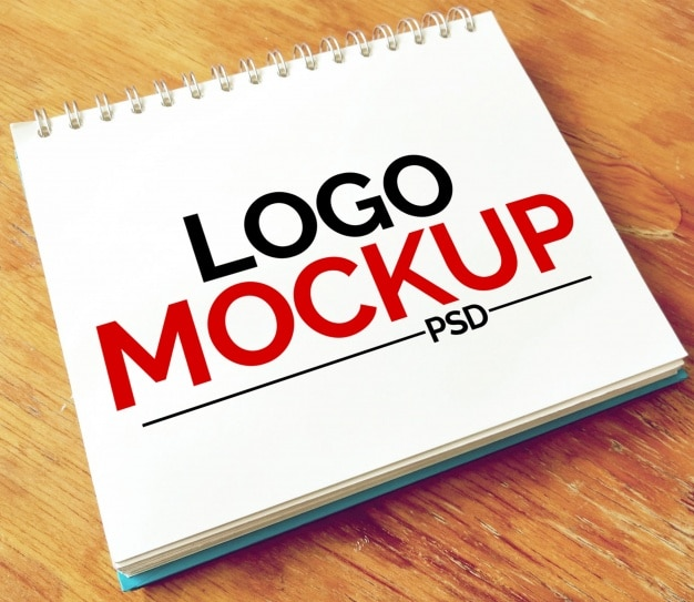 Mockup de libreta para logotipo