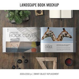 Mockup de libro apaisado
