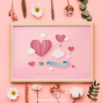 Mockup de marco de san valentín
