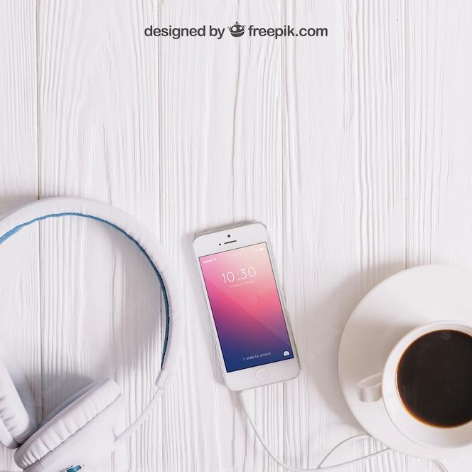 Mockup de música con smartphone