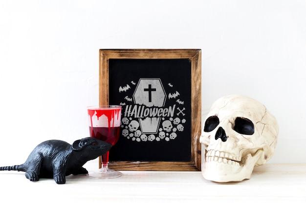 Mockup de pizarra con concepto de halloween