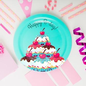 Mockup de plato de cumpleaños
