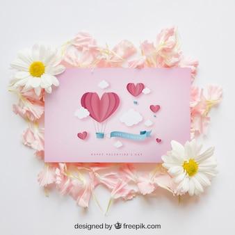 Mockup de primavera con tarjeta rosa