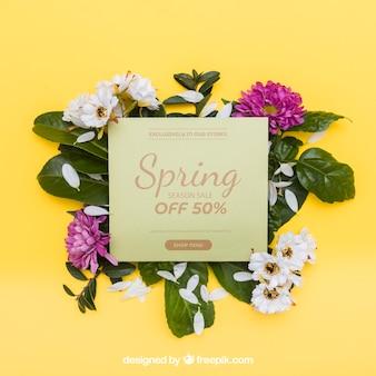 Mockup de primavera con tarjeta