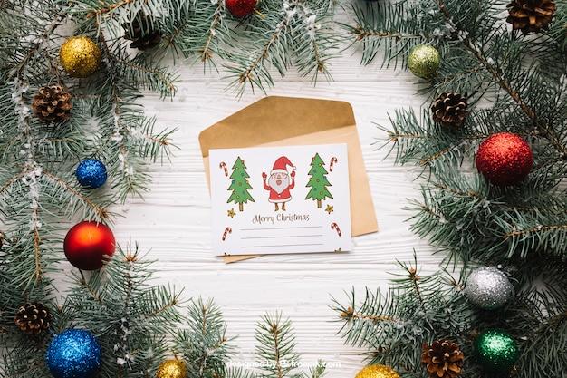 Mockup de tarjeta bonita con diseño de navidad