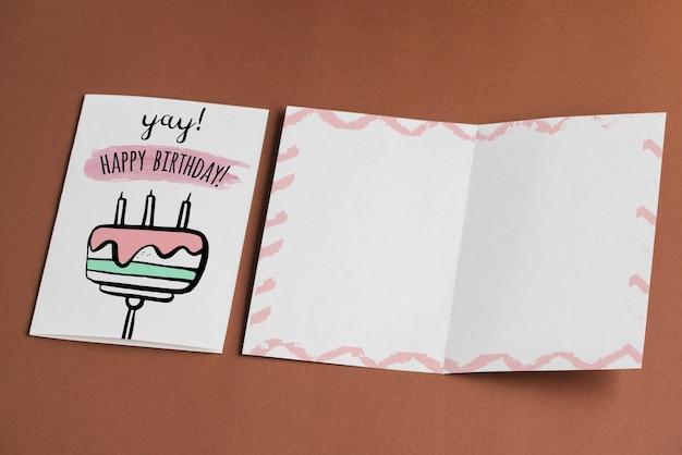 Mockup de tarjeta de cumpleaños vacía