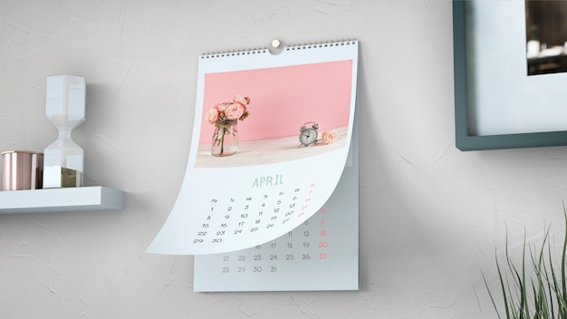 Mockup decorativo de calendario colgado en pared