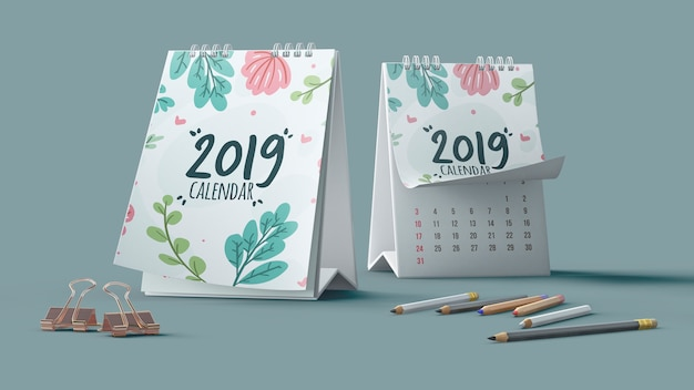 Mockup decorativo de calendario con lápices