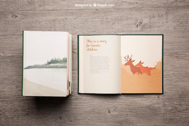 Mockup decorativo de libros