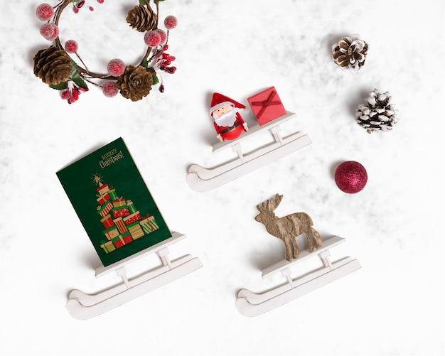 Mockup decorativo de navidad con trineos