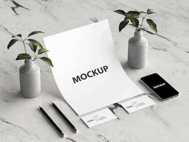 Mockup decorativo de papelería