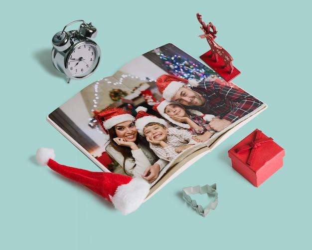 Mockup decorativo de revista de navidad