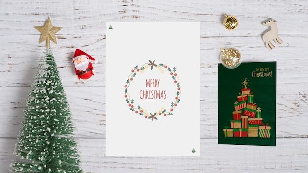 Mockup decorativo de tarjeta de navidad