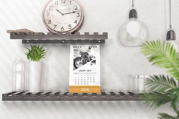 Mockup del calendario da tavolo verticale creativo