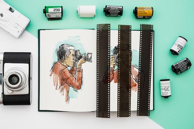 Mockup del libro aperto con il concetto di fotografia