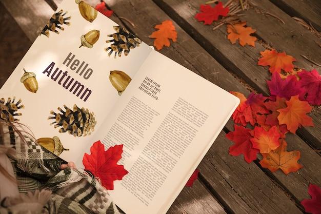 Mockup del libro aperto con il concetto di halloween