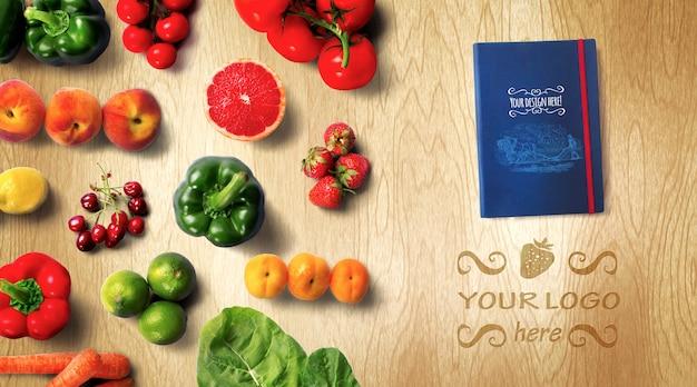 Mockup del libro di ricette di alimenti biologici
