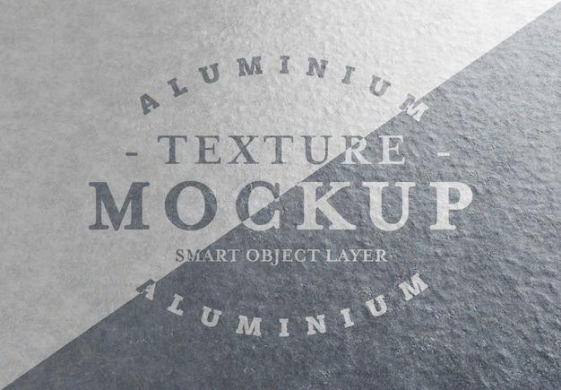 Mockup del logo texture in lamiera di alluminio