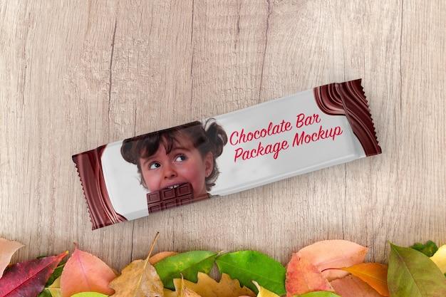 Mockup del pacchetto di barrette di cioccolato