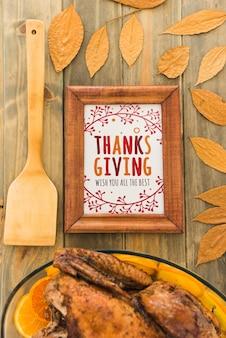 Mockup del ringraziamento con cornice