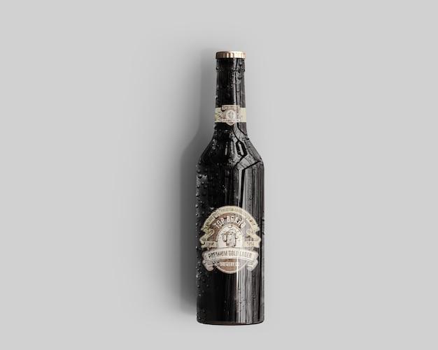 Mockup della bottiglia di birra di vetro ambrato con le gocce di acqua - vista superiore