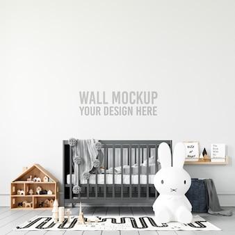 Mockup della parete della stanza dei giochi interna dei bambini