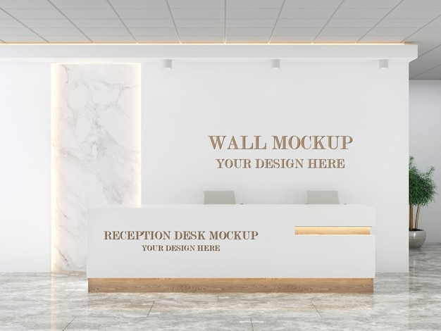 Mockup della reception e del muro