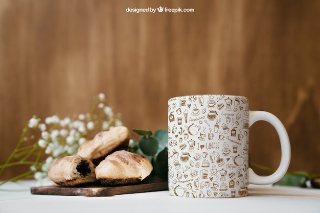 Mockup de desayuno con taza