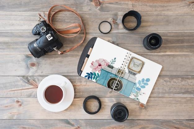 Mockup di appunti con il concetto di fotografia