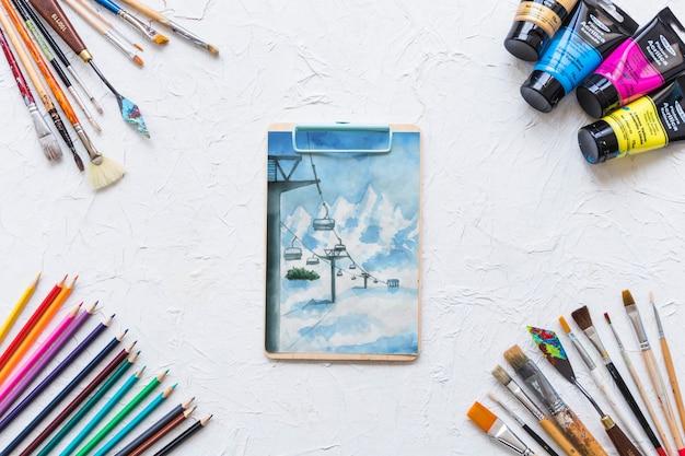 Mockup di appunti con materiali pittorici