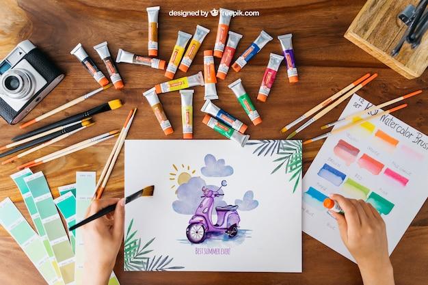 Mockup di arte creativa