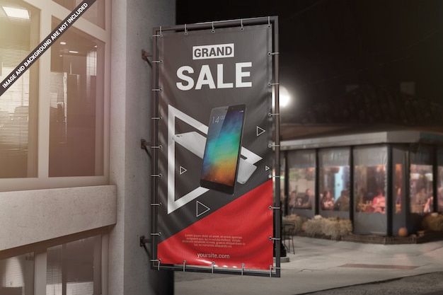 Mockup di banner pubblicitari muro verticale