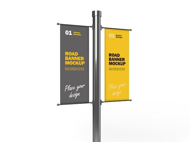 Mockup di banner verticale doppia strada 3d