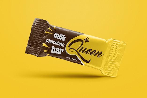 Mockup di barretta di cioccolato a gravità