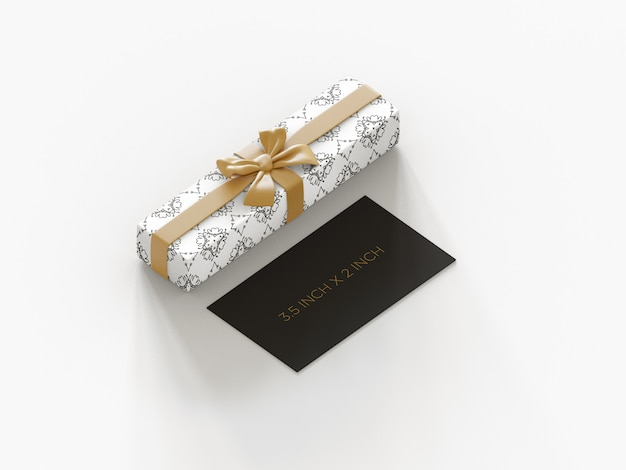 Mockup di biglietti da visita premium pronto all'uso con vista ortografica confezione regalo