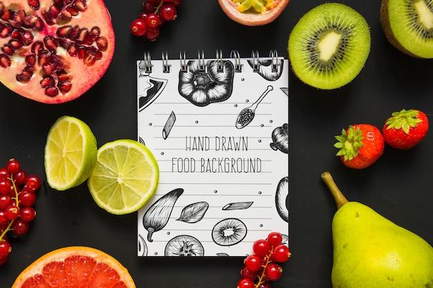 Mockup di blocco note con il concetto di cibo sano