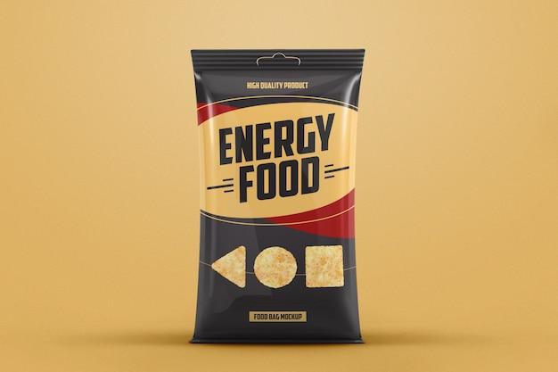 Mockup di borsa per alimenti in plastica lucida