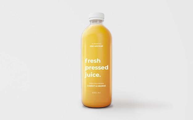 Mockup di bottiglia di vetro di succo d'arancia completamente modificabile