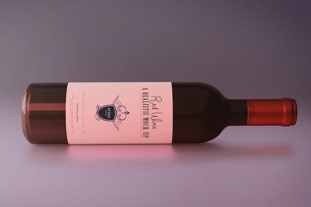 Mockup di bottiglia di vino rosso