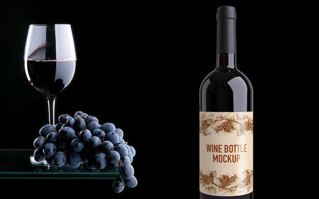 Mockup di bottiglia di vino