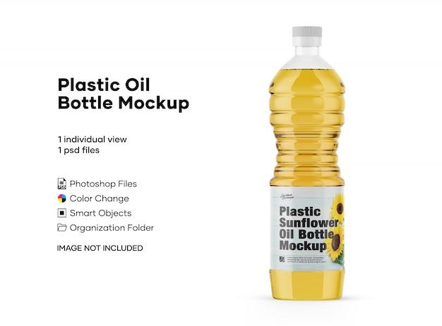 Mockup di bottiglie di olio di plastica