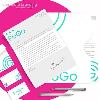 Mockup di branding aziendale con lettera, busta, cartella e biglietti da visita