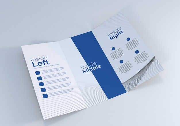 Mockup di brochure a tre ante aperto realistico